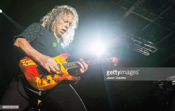 MUsician Kirk Hammett of Metallica performs at MAPFRE Stadium on May 21 2017 in Columbus Ohio