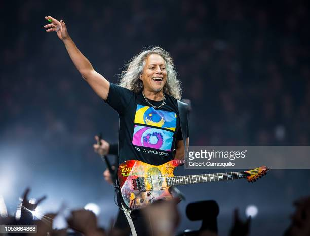 Musician Kirk Hammett of Metallica performs during Metallica WorldWired Tour at Wells Fargo Center on October 25, 2018 in Philadelphia, Pennsylvania.