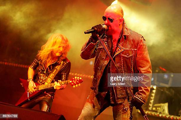 Musician KK Downing and vocalist Rob Halford of Judas Priest perform in concert at the ATT Center on July 25 2009 in San Antonio Texas