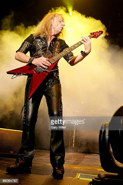 Musician KK Downing of Judas Priest performs in concert at the ATT Center on July 25 2009 in San Antonio Texas