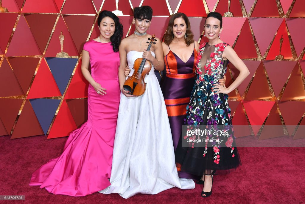 Musician Kokoe Tanaka-Suwan, Brianna Perez, and filmmakers Kahane Cooperman and Raphaela Neihausen attends the 89th Annual Academy Awards at Hollywood & Highland Center on February 26, 2017 in Hollywood, California.