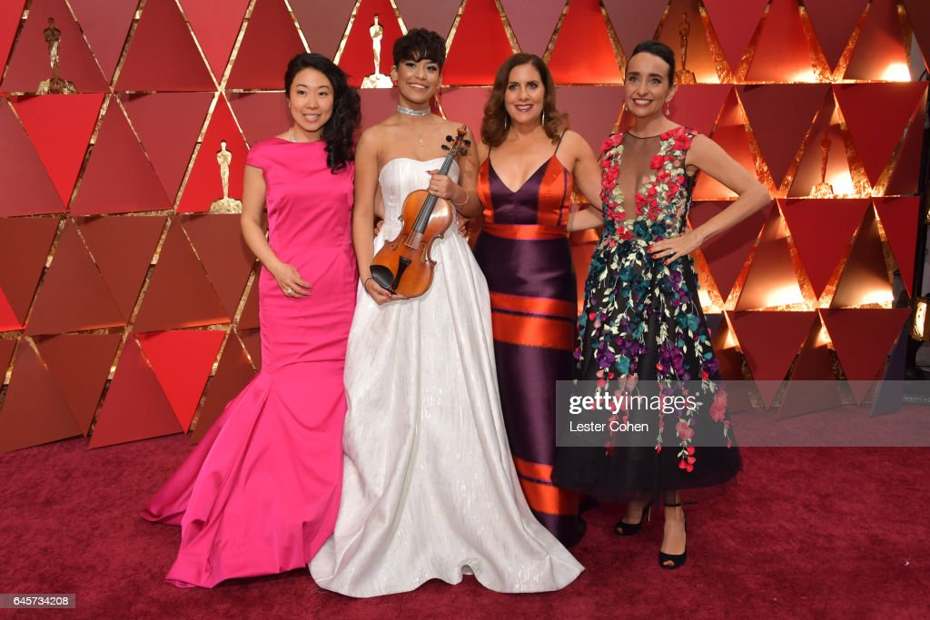 Musician Kokoe Tanaka-Suwan, Brianna Perez, and filmmakers Kahane Cooperman and Raphaela Neihausen attend the 89th Annual Academy Awards at Hollywood & Highland Center on February 26, 2017 in Hollywood, California.