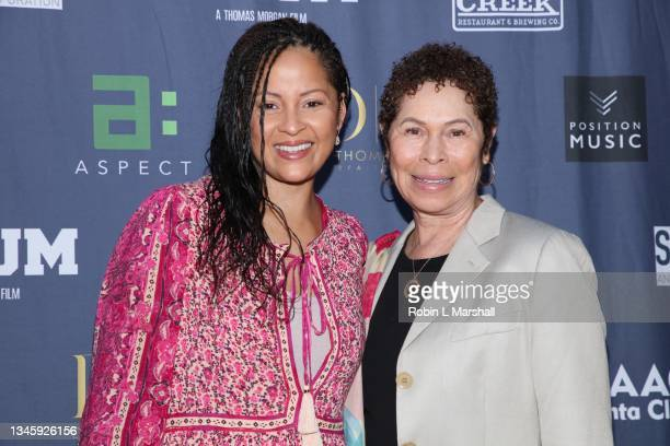 """Musician Kori Withers and mother Marcia Withers attend the Premiere of """"Scrum"""" at Laemmle Newhall on October 10, 2021 in Santa Clarita, California."""