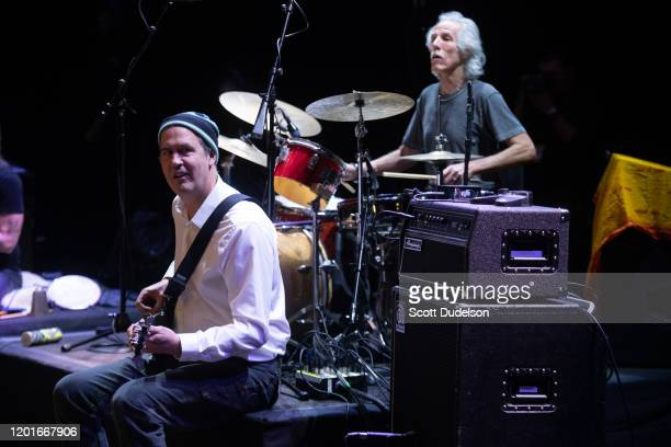 Musician Krist Novoselic founding member of Nirvana and John Densmore of The Doors performs onstage during Homeward Bound A Benefit for the Homeless...