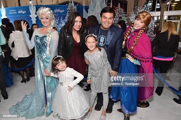 Musician Kristen AndersonLopez Robert Lopez actors Annie Lopez and Katie Lopez attend The World Premiere of Walt Disney Animation Studios' Frozen at...