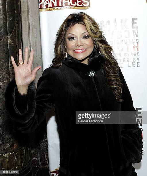 Musician La Toya Jackson attends the Los Angeles Premiere of Mike Tyson Undisputed Truth at the Pantages Theatre on March 8 2013 in Hollywood...