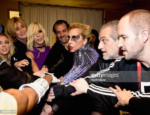 Musician Lady Gaga and Donatella Versace backstage before the Pepsi Zero Sugar Super Bowl LI Halftime Show at NRG Stadium on February 5, 2017 in...