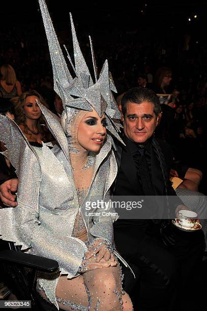 Musician Lady Gaga and faher Joseph Germanotta attend the 52nd Annual GRAMMY Awards held at Staples Center on January 31 2010 in Los Angeles...