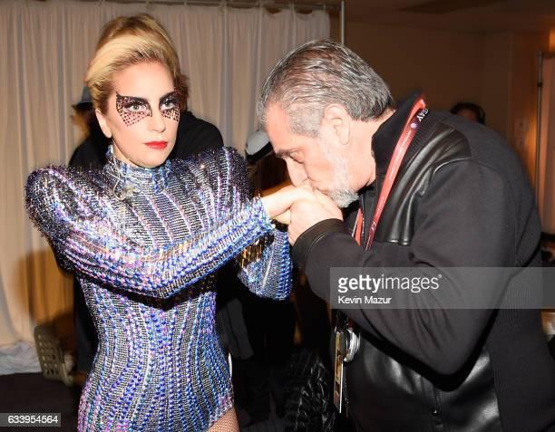Musician Lady Gaga and Joe Germanotta backstage before the Pepsi Zero Sugar Super Bowl LI Halftime Show at NRG Stadium on February 5 2017 in Houston...