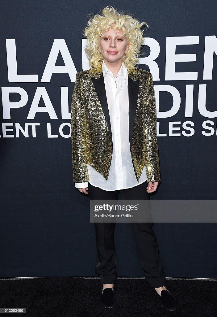 Musician Lady Gaga arrives at SAINT LAURENT At The Palladium at Hollywood Palladium on February 10, 2016 in Los Angeles, California.