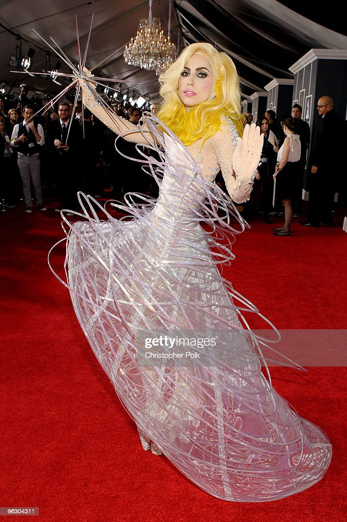 Musician Lady Gaga arrives at the 52nd Annual GRAMMY Awards held at Staples Center on January 31, 2010 in Los Angeles, California.