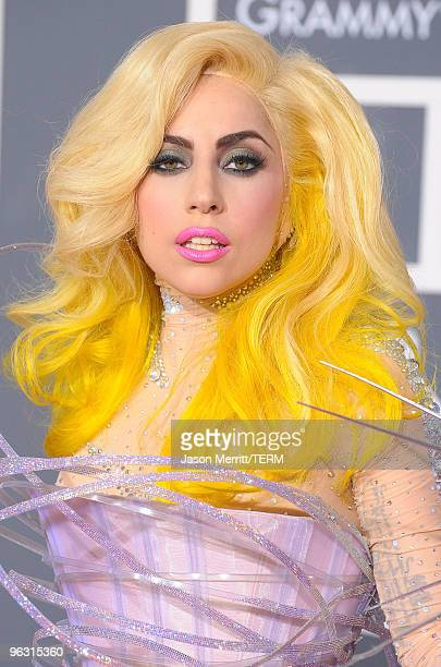 Musician Lady Gaga arrives at the 52nd Annual GRAMMY Awards held at Staples Center on January 31 2010 in Los Angeles California