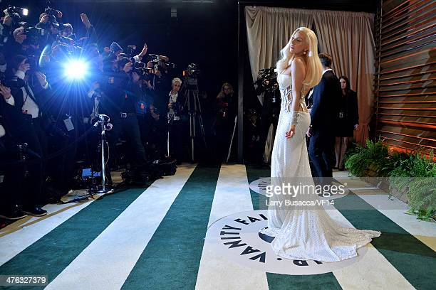 Musician Lady Gaga attends the 2014 Vanity Fair Oscar Party Hosted By Graydon Carter on March 2 2014 in West Hollywood California