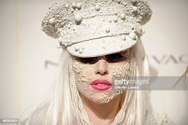 Musician Lady Gaga attends the amfAR New York Gala cosponsored by MAC Cosmetics at Cipriani 42nd Street on February 10 2010 in New York New York