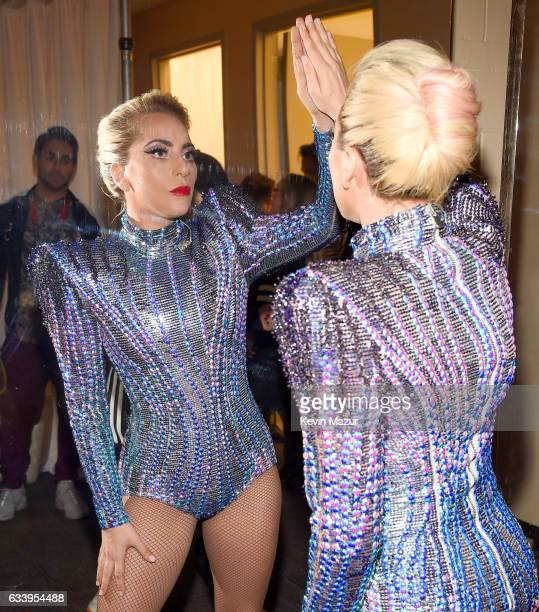 Musician Lady Gaga backstage before the Pepsi Zero Sugar Super Bowl LI Halftime Show at NRG Stadium on February 5 2017 in Houston Texas