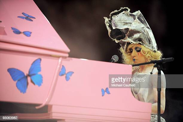 Musician Lady Gaga performs during the MOCA NEW 30th anniversary gala held at MOCA on November 14 2009 in Los Angeles California