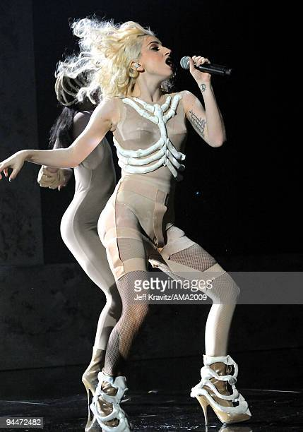 Musician Lady GaGa performs onstage at the 2009 American Music Awards at Nokia Theatre LA Live on November 22 2009 in Los Angeles California