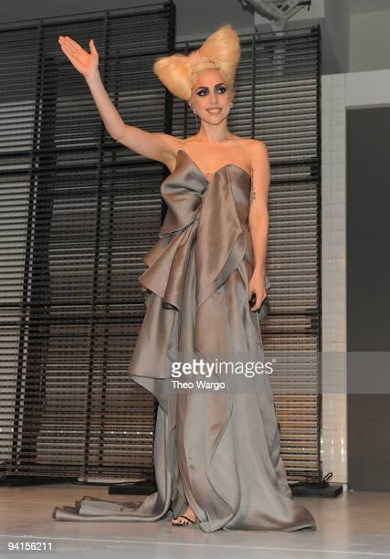Musician Lady Gaga performs onstage at the launch of VEVO the world's premiere destination for premium music video and entertainmentat Skylight...