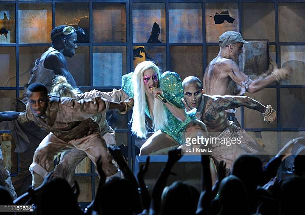Musician Lady GaGa performs onstage during the 52nd Annual GRAMMY Awards held at Staples Center on January 31 2010 in Los Angeles California