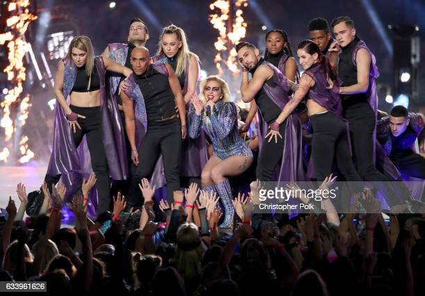 Musician Lady Gaga performs onstage during the Pepsi Zero Sugar Super Bowl LI Halftime Show at NRG Stadium on February 5 2017 in Houston Texas