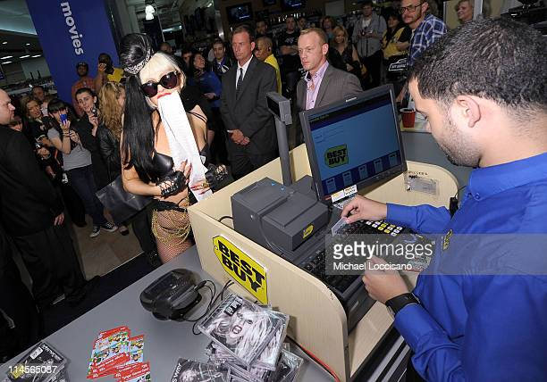 Musician Lady Gaga stopped in a Best Buy store to greet fans and purchase her new album 'Born this way' on May 23 2011 in New York City