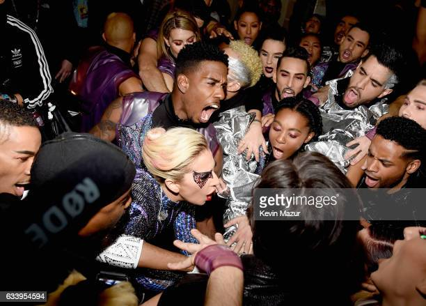 Musician Lady Gaga with her backup dancers backstage before the Pepsi Zero Sugar Super Bowl LI Halftime Show at NRG Stadium on February 5, 2017 in...