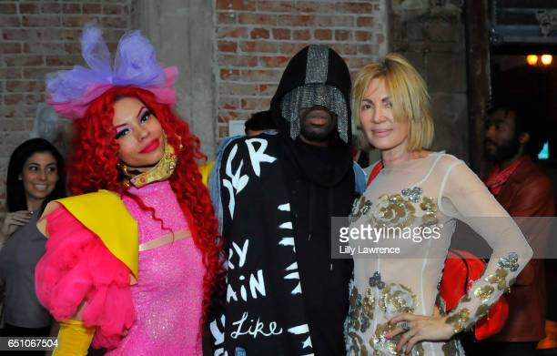 Musician Laila V designer Tyce and artist Karen Bystedt attend Karen Bystedt's 'Kings And Queens' exhibition on March 9 2017 in Los Angeles California