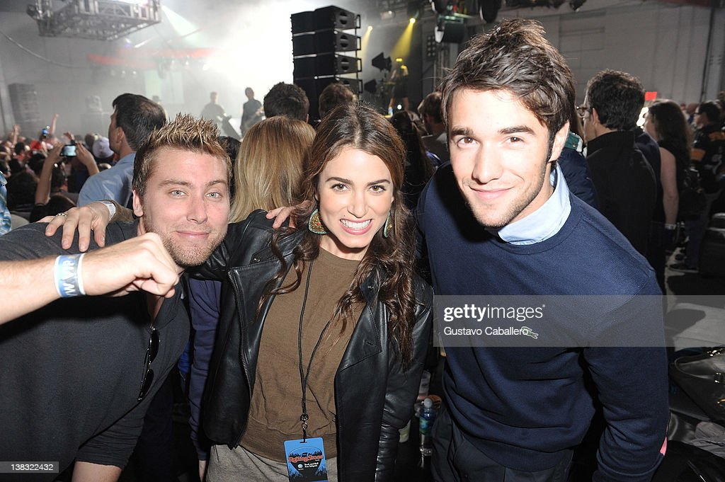 Musician Lance Bass, actress Nikki Reed, and actor Josh Bowman attend The Rolling Stone Volkswagen Rock & Roll Fan Tailgate Party at The Crane Bay on February 5, 2012 in Indianapolis, Indiana.