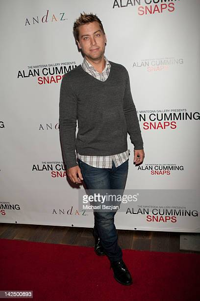 Musician Lance Bass poses at the Alan Cumming Snaps Photography Exhibition at Andaz on April 5 2012 in West Hollywood California