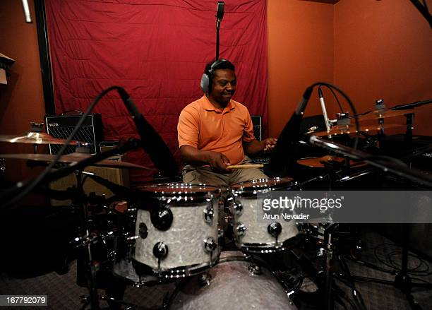 Musician Land Richards records drums at the Kaylene Peoples My Man Recording Session with Hubert Laws at The Mouse House Studio on April 29 2013 in...