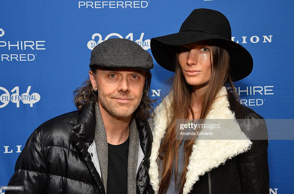 Musician Lars Ulrich (L) and Jessica Miller arrive at the 'Hellion' premiere party at Chase Sapphire on January 17, 2014 in Park City, Utah.