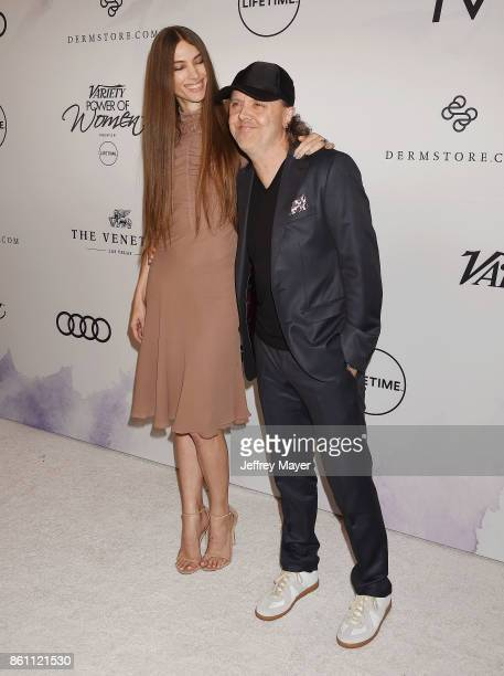 Musician Lars Ulrich and Jessica Miller arrive at the Variety's Power Of Women Los Angeles at the Beverly Wilshire Four Seasons Hotel on October 13...