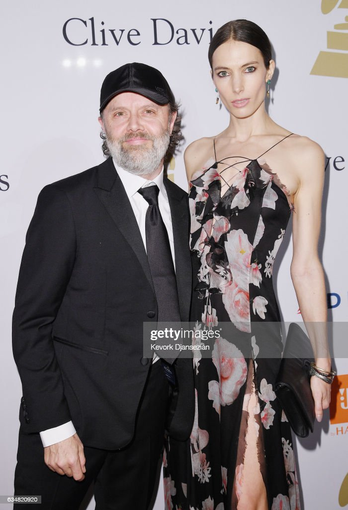 Musician Lars Ulrich (L) and model Jessica Miller attend Pre-GRAMMY Gala and Salute to Industry Icons Honoring Debra Lee at The Beverly Hilton on February 11, 2017 in Los Angeles, California.
