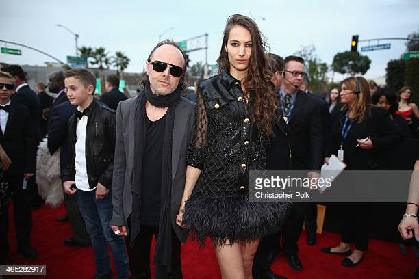 Musician Lars Ulrich and model Jessica Miller attend the 56th GRAMMY Awards at Staples Center on January 26 2014 in Los Angeles California