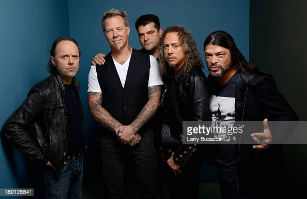 Musician Lars Ulrich musician James Hetfield director Nimrod Antal musician Kirk Hammett and musician Robert Trujillo of 'Metallica Through The...