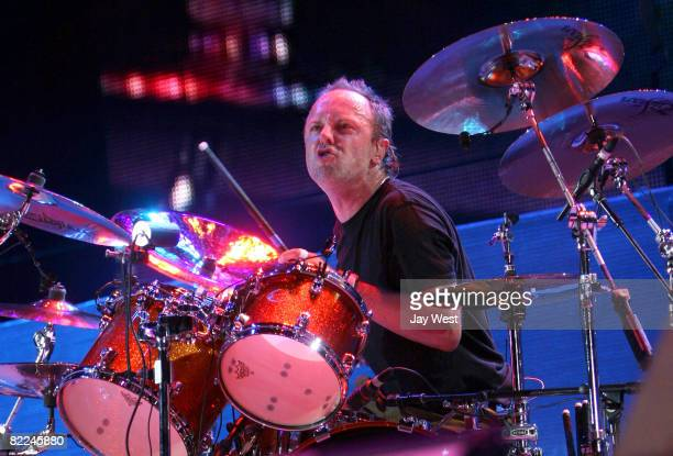 Musician Lars Ulrich of Metallica performs at Ozzfest 2008 at the Pizza Hut Park on August 9, 2008 in Frisco, Texas.