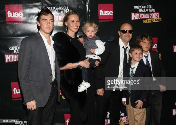 Musician Lars Ulrich of Metallica with actress Connie Nielsen and family attend the 24th Annual Rock and Roll Hall of Fame Induction Ceremony at...