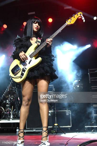 Musician Laura Lee of Khruangbin performs onstage during Weekend 1, Day 1 of the 2019 Coachella Valley Music and Arts Festival on April 12, 2019 in...