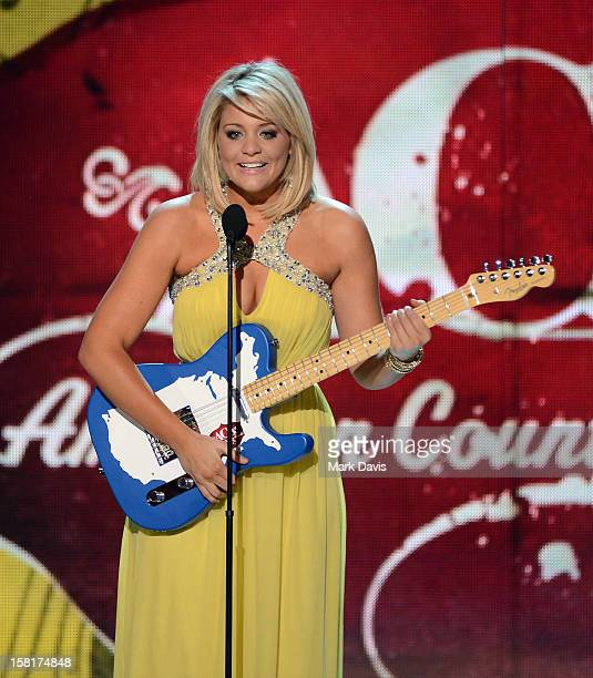 Musician Lauren Alaina accept the New Artist of the Year award onstage during the 2012 American Country Awards at the Mandalay Bay Events Center on...