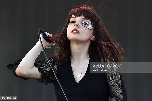 Musician Lauren Mayberry of Chvrches performs onstage during day 2 of the 2016 Coachella Valley Music Arts Festival Weekend 1 at the Empire Polo Club...