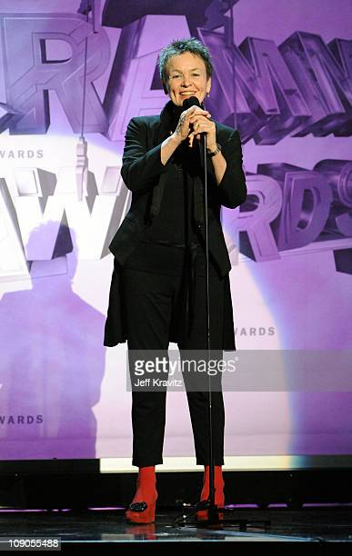 Musician Laurie Anderson speaks onstage during The 53rd Annual GRAMMY Awards held at Staples Center on February 13 2011 in Los Angeles California