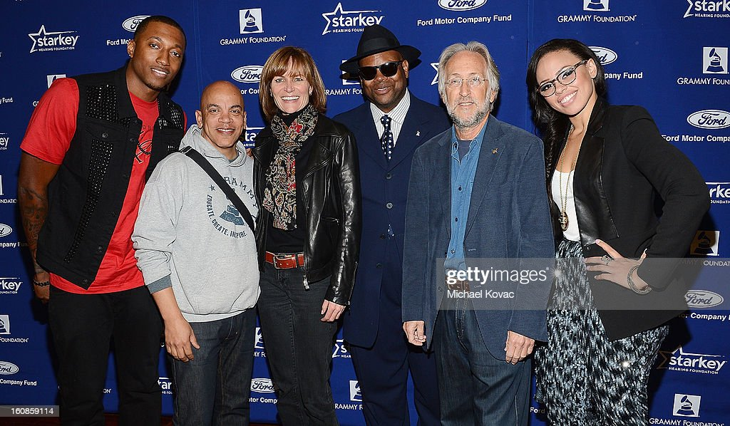 Musician Lecrae, producer Rickey Minor, SVP Kristen Madsen, producer Jimmy Jam, President/CEO of The Recording Academy Neil Portnow, and singer Elle Varner attend GRAMMY Camp Basic Training on February 6, 2013 in Los Angeles, California.