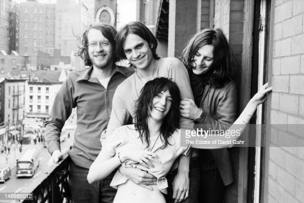 Musician Lee Crabtree singer songwriter Eric Anderson singer and poet Patti Smith and filmmaker and videographer Michel Auder pose for a portrait on...