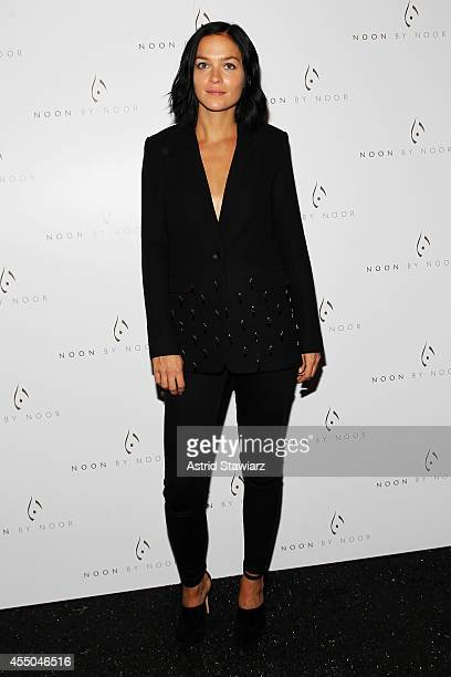 Musician Leigh Lezark poses backstage at the Noon By Noor fashion show during MercedesBenz Fashion Week Spring 2015 at The Salon at Lincoln Center on...
