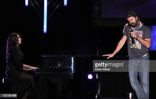 Musician Lena and singer Pau Dones perform onstage during the 12th annual Latin GRAMMY Awards pretelecast at the Mandalay Bay Resort Casino on...