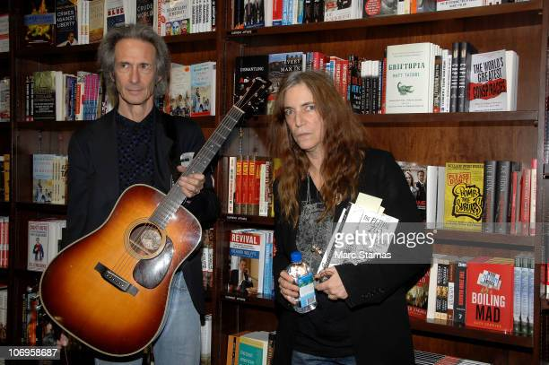 Musician Lenny Kaye and Patti Smith attend a tribute to Jim Carroll at Barnes Noble Union Square on November 18 2010 in New York City