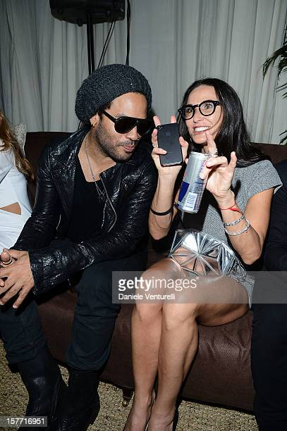 Musician Lenny Kravitz and actress Demi Moore attend Chanel beachside BBQ celebrating Artsy at Soho Beach House on December 5 2012 in Miami Beach...