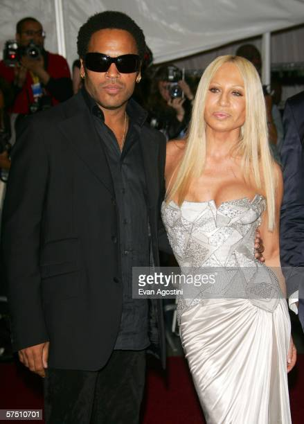 Musician Lenny Kravitz and designer Donatella Versace attends the Metropolitan Museum of Art Costume Institute Benefit Gala Anglomania at the...