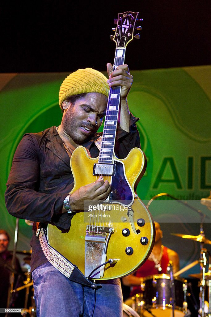 Musician Lenny Kravitz performs at the GULF AID benefit concert at Mardi Gras World River City on May 16, 2010 in New Orleans, Louisiana.
