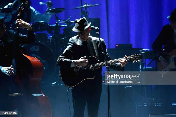 Musician Leonard Cohen performs at the Beacon Theatre February 19 2009 in New York City